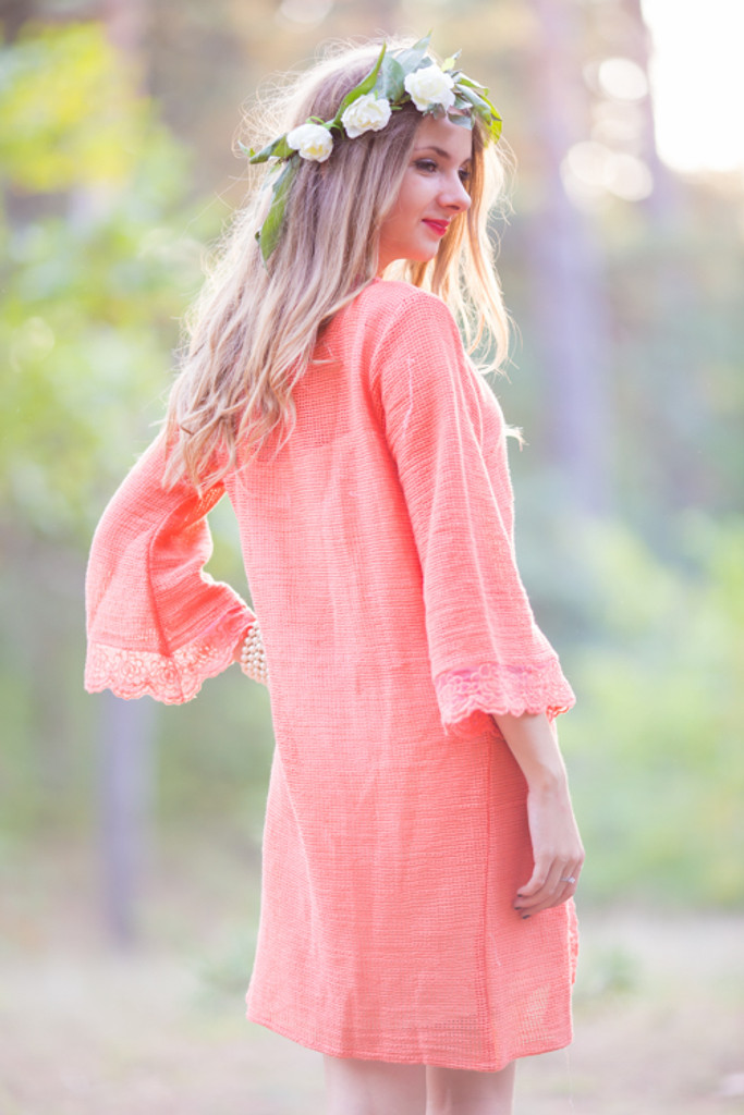 Oh Blythe Coral Lace lined Bridal Robe