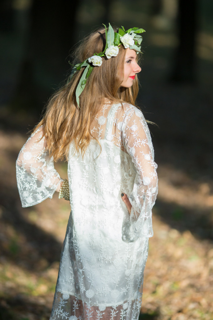 Oh Brooke White Floral Lace Bridal Robe