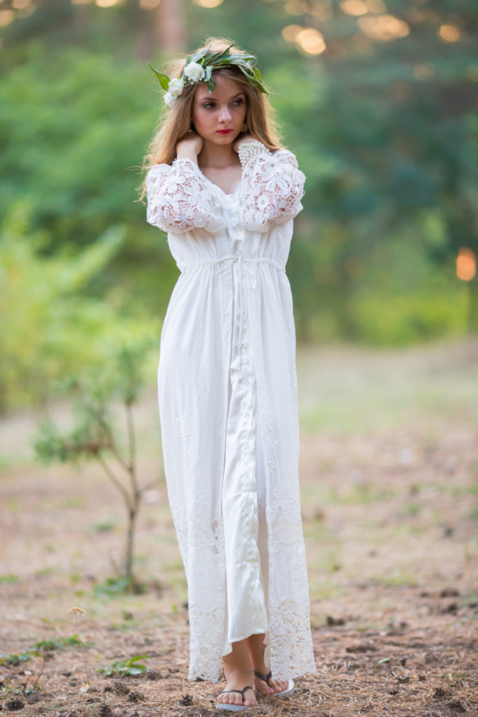 Oh Callie White Lace Bridal Robe
