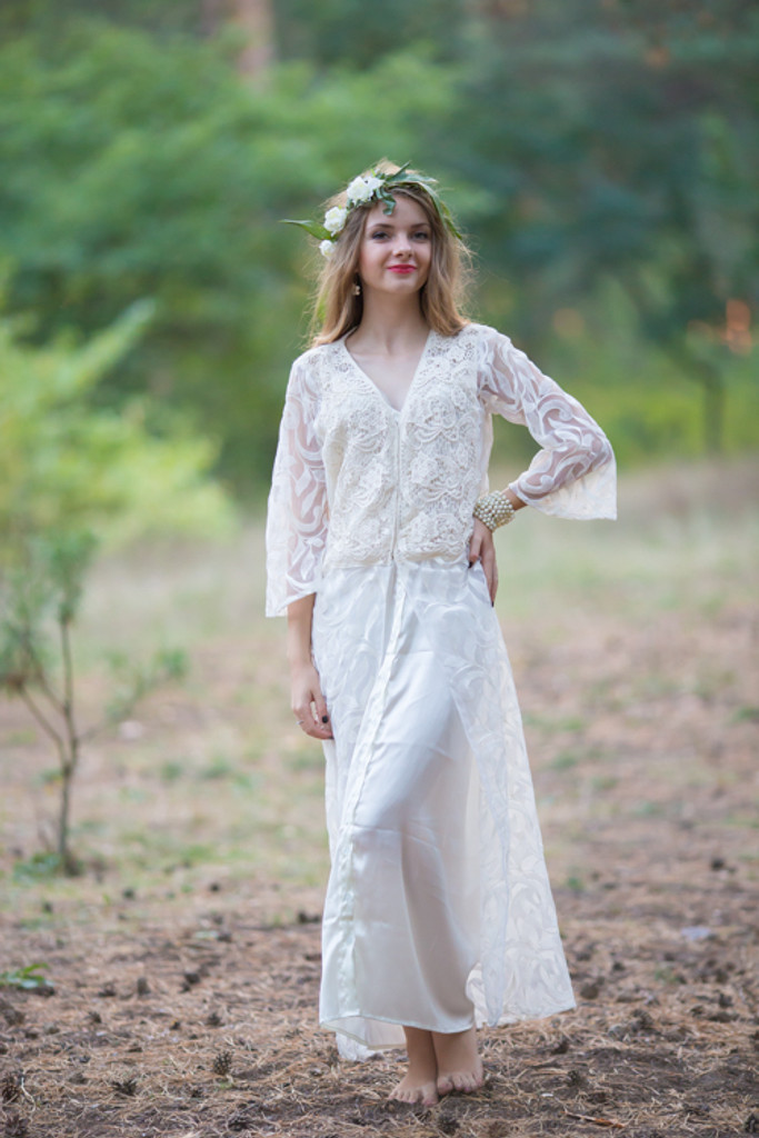 Oh Claudia White Lace Bridal Robe