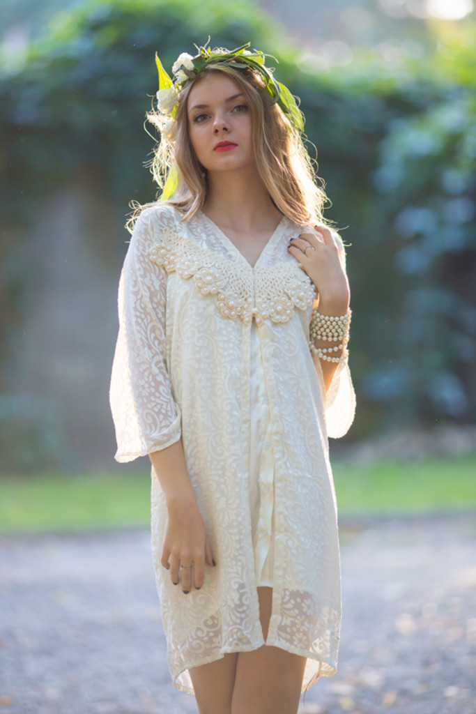Oh Darla Ivory Pearly Lace Brial Robe