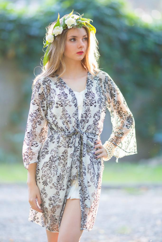 Oh Gloria White Damask Lace Bridal Robe