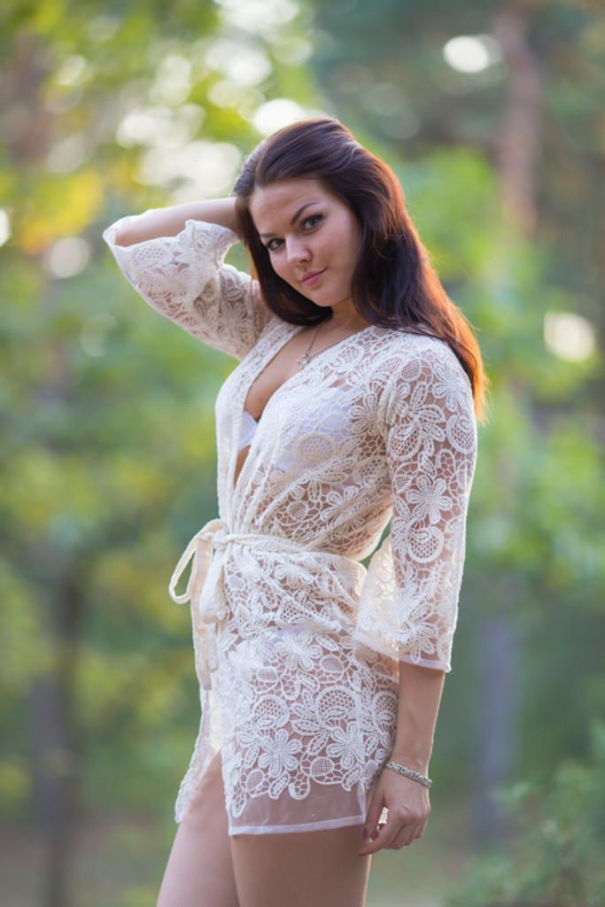 Oh Audrey Ivory Floral Lace Bridal Boudoir Robe
