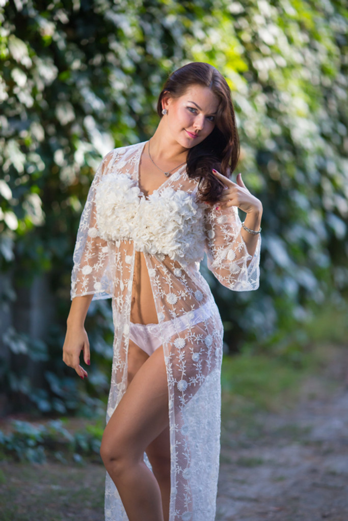 Oh Brooke White Floral Lace Bridal Boudoir Robe