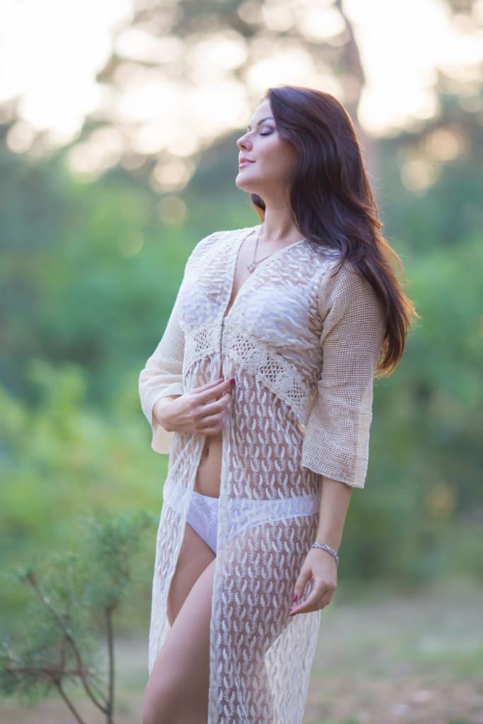 Oh Dove Ivory Lace Bridal Boudoir Robe