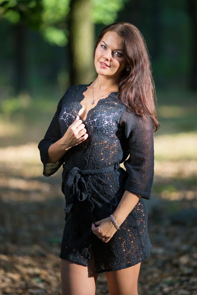 Oh Era Black Romantic Lace Boudoir Robe