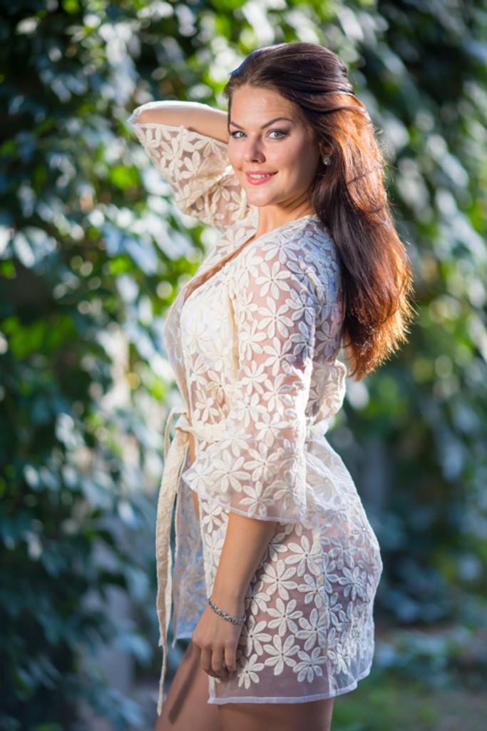Oh Flora Ivory Floral Lace Bridal Boudoir Robe