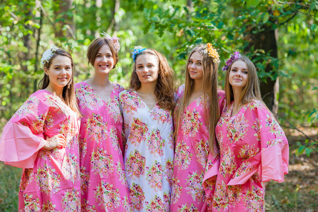 Ballerina Style Kaftans for bridesmaids to get ready in