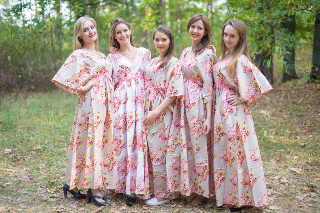 Breezy Bohemian Style Kaftans for bridesmaids to get ready in