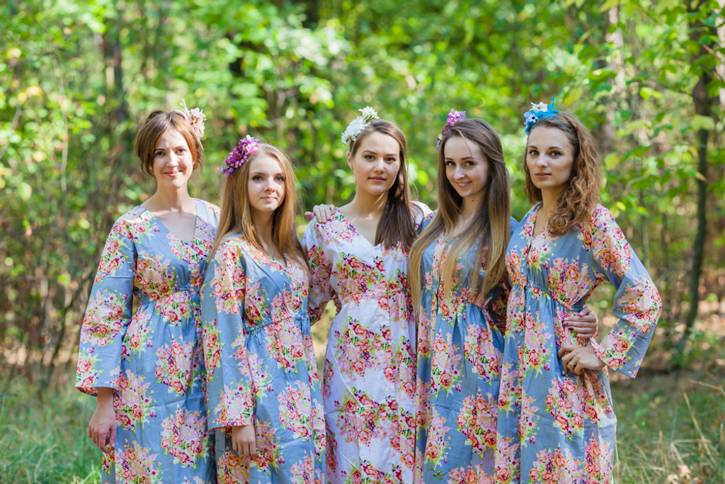 Button Me Down Style Kaftans for bridesmaids to get ready in