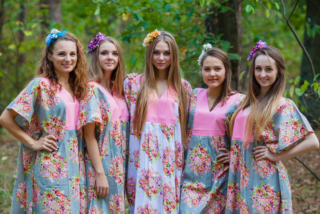 Flowing River Style Kaftans for bridesmaids to get ready in