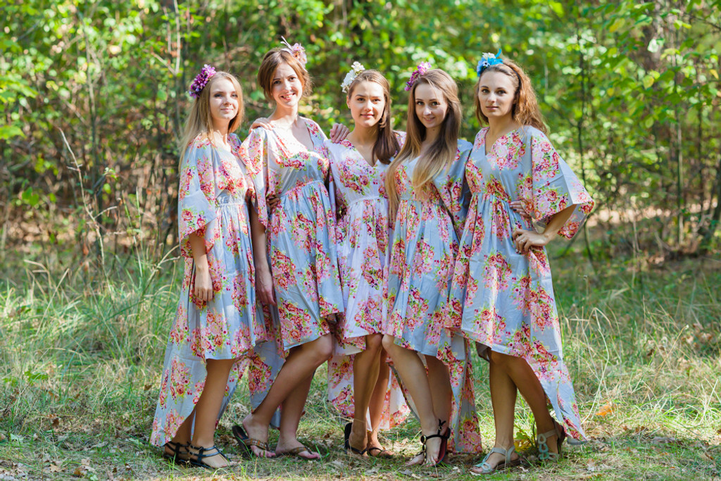High Low Wind Flow Style Kaftans for bridesmaids to get ready in
