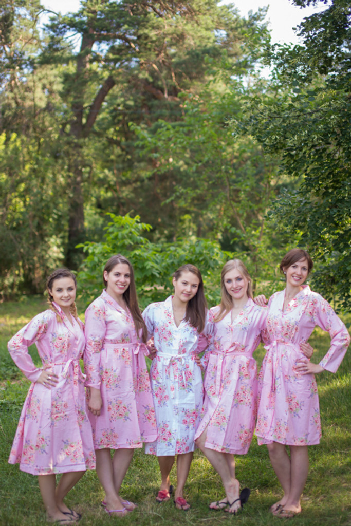 Faded Flowers Housecoats for bridesmaids to get ready in