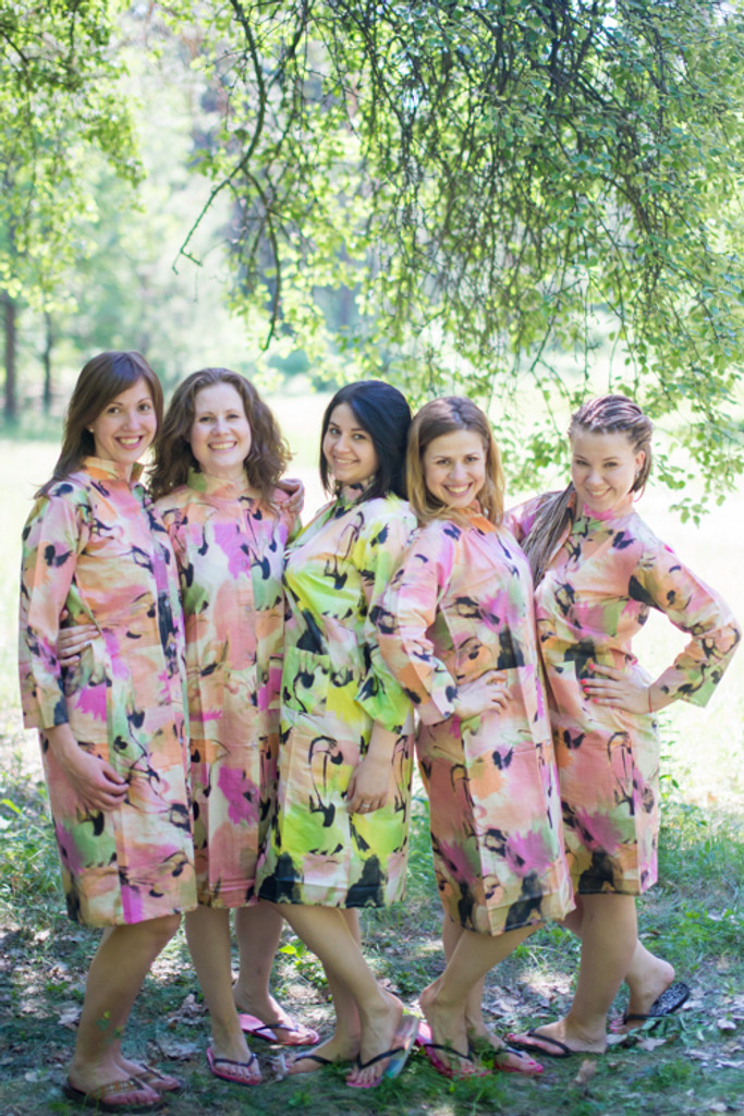 Flamingo Watercolor Housecoats for bridesmaids to get ready in