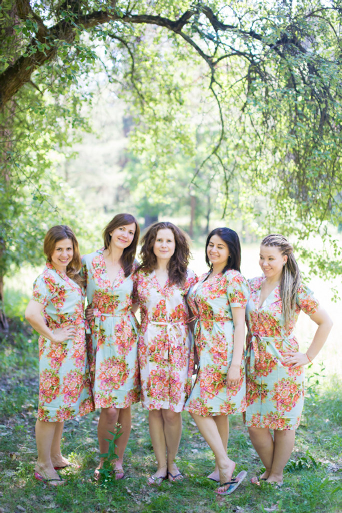 Floral Posy Housecoats for bridesmaids to get ready in