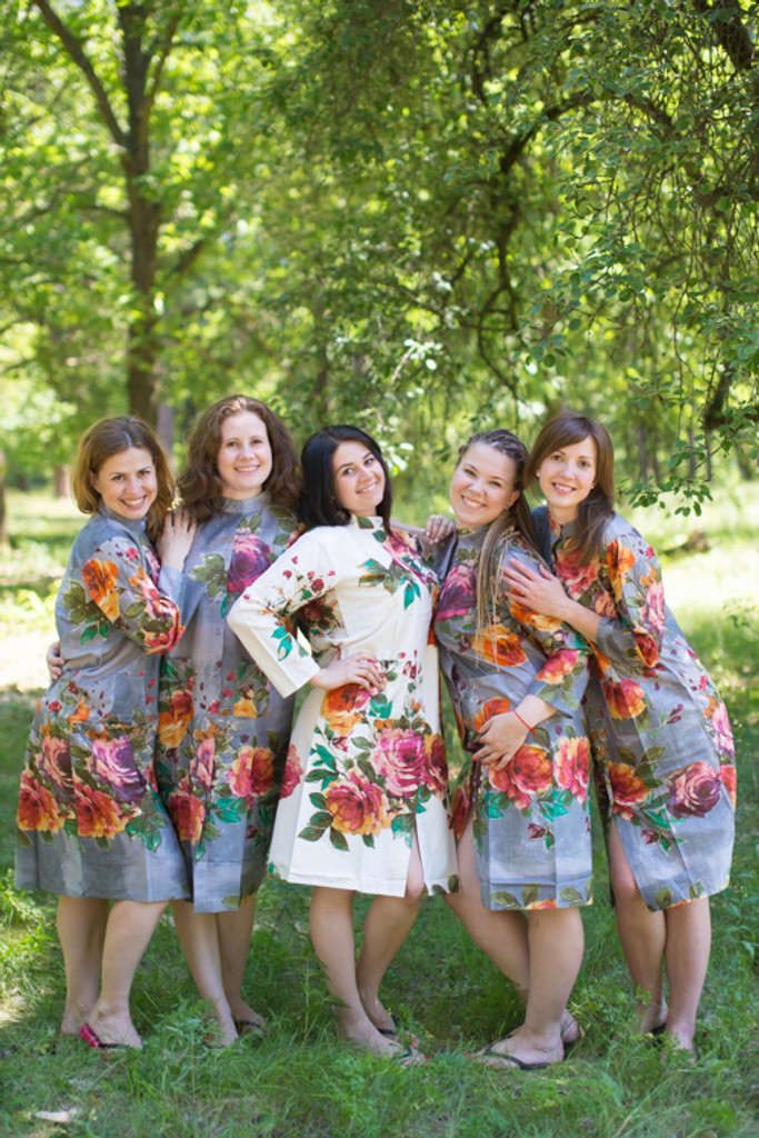 Large Floral Blossom Housecoats for bridesmaids to get ready in