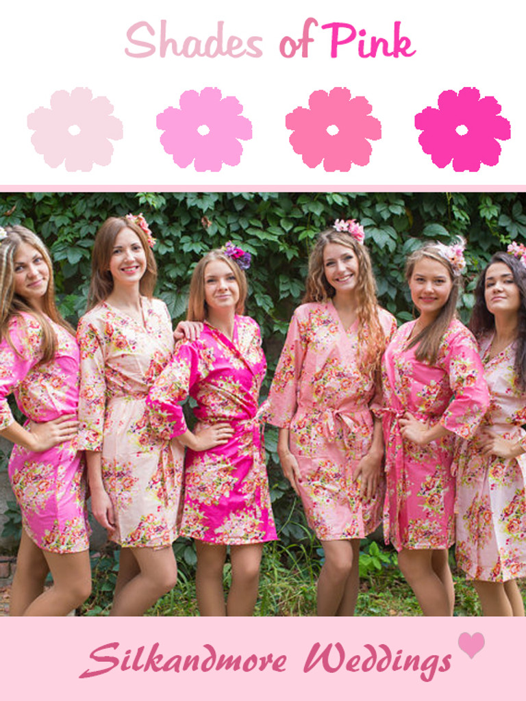 Shades of Pink wedding color robes