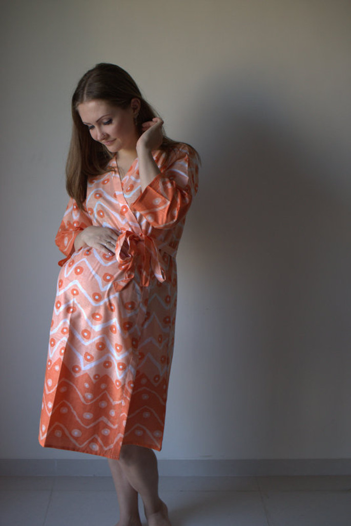 Chevron Dots Maternity Robe