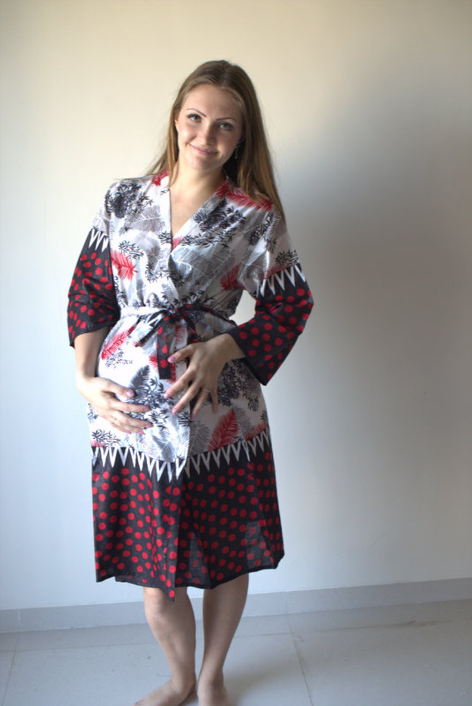 Dots and Leaves Maternity Robe