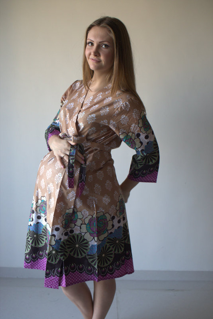 Floral Bordered Maternity Robe