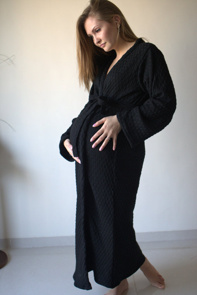 Black Triangles Warm Winter Maternity Robe