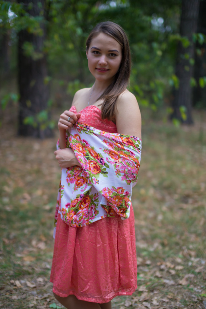 Bright Floral Posy Silk Scarves