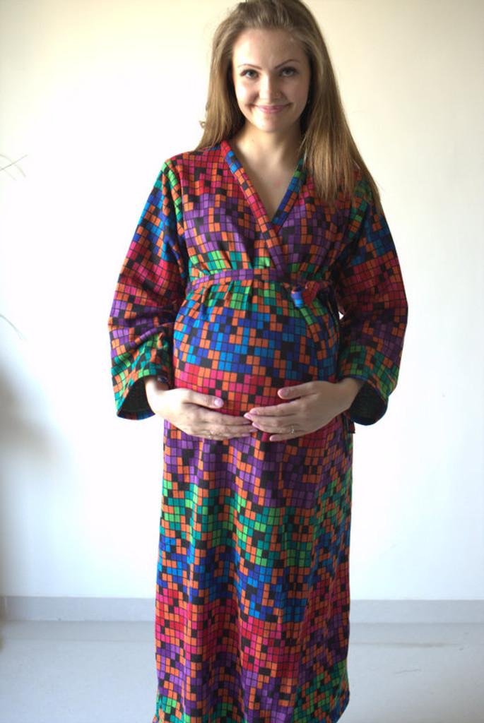 Multicolored Geometric Warm Winter Maternity Robe