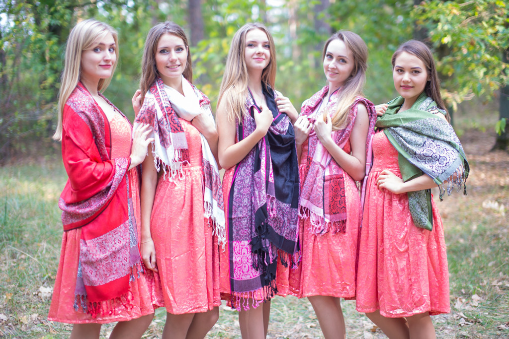 Floral Bordered Pashmina Warm Shawls