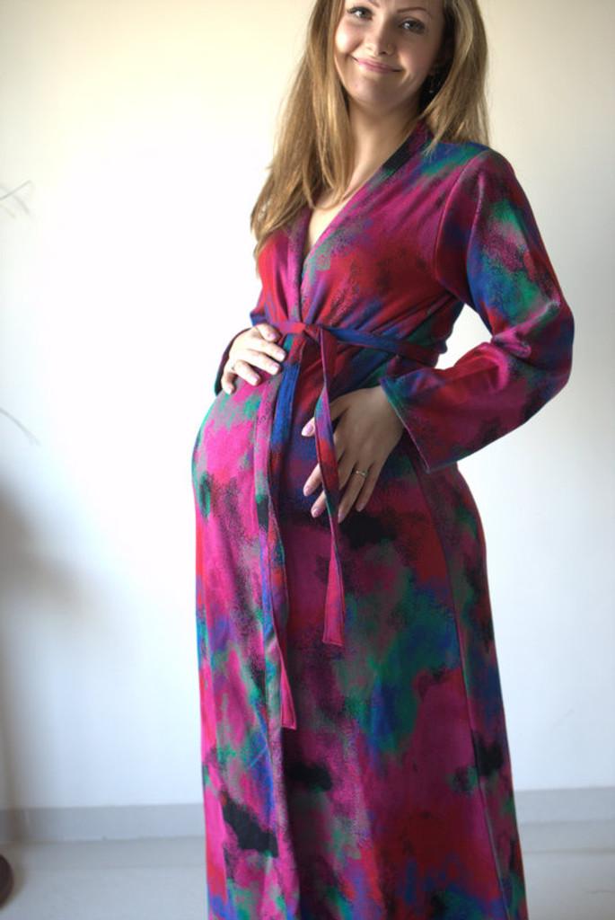 Watercolor Warm Winter Maternity Robe