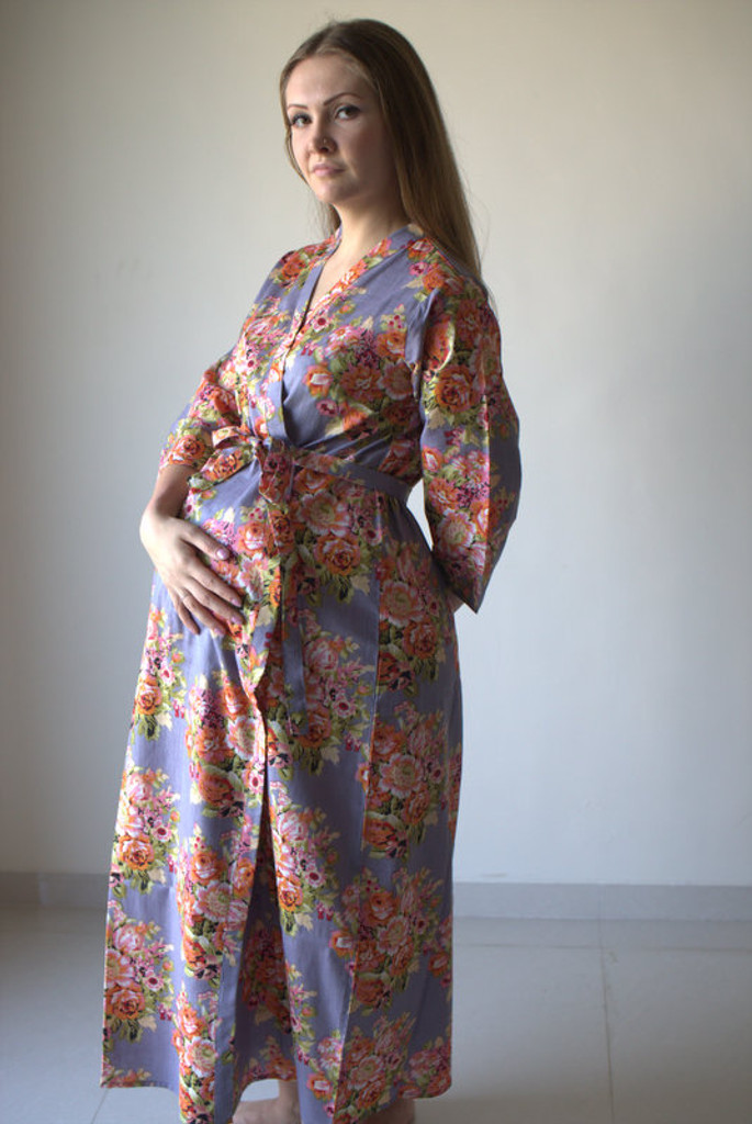 Floral Posy Full Length Maternity Robe