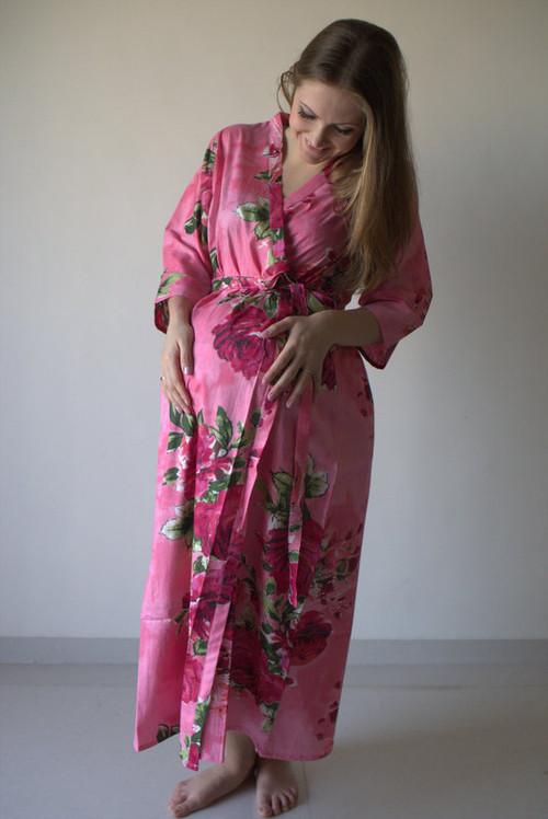 Large Fuchsia Floral Blossom Full Length Maternity Robe
