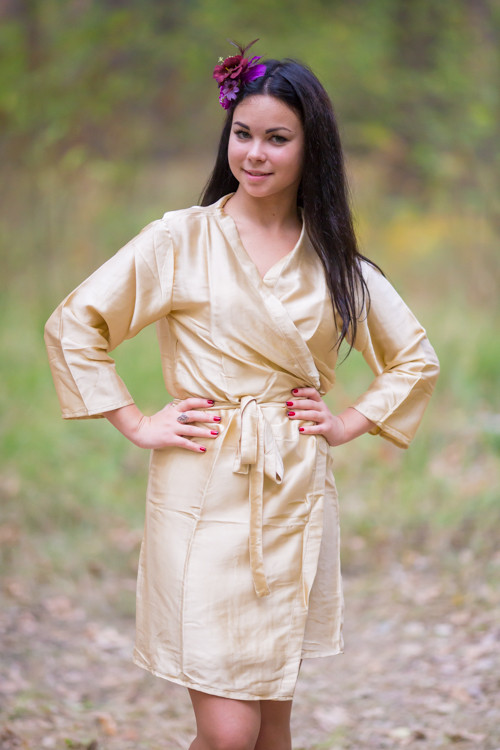 Plain Silk Robes for bridesmaids - Solid Champagne Color | Getting Ready Bridal Robes