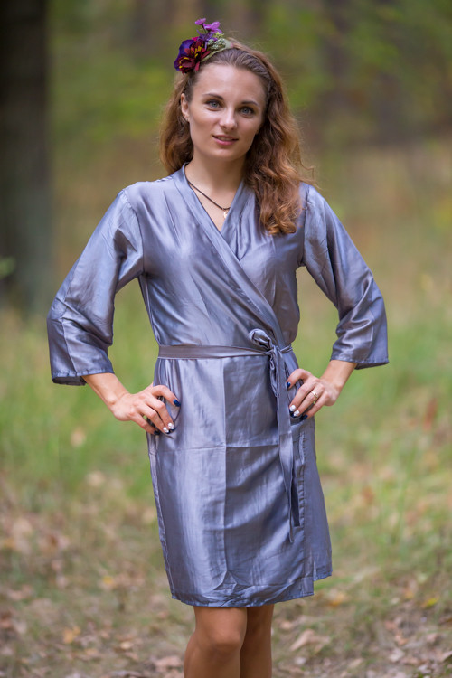 Plain Silk Robes for bridesmaids - Solid Gray Color | Getting Ready Bridal Robes