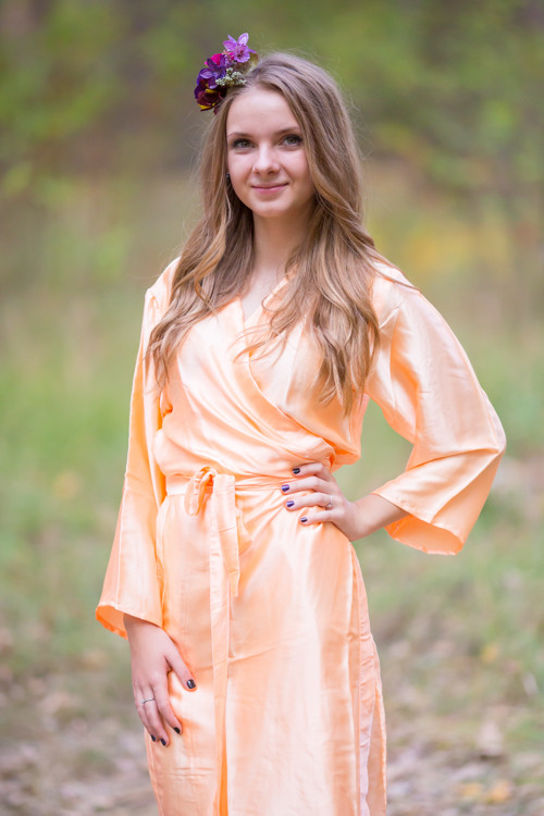 Plain Silk Robes for bridesmaids - Solid Peach Color | Getting Ready Bridal Robes