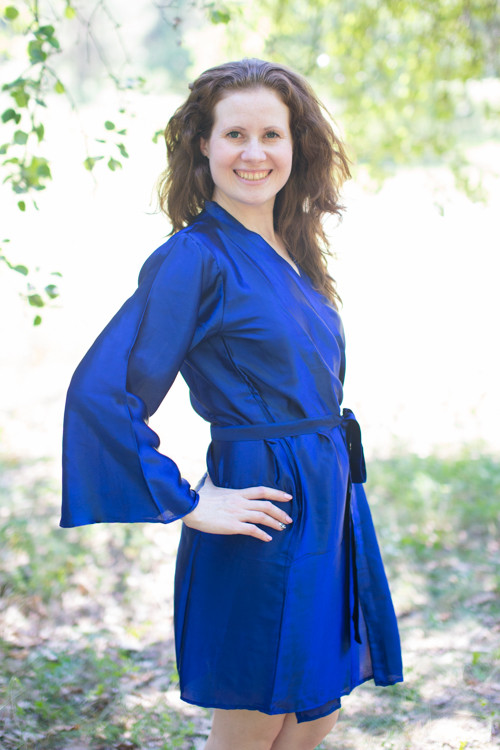 Plain Silk Robes for bridesmaids - Solid Royal Blue Color | Getting Ready Bridal Robes