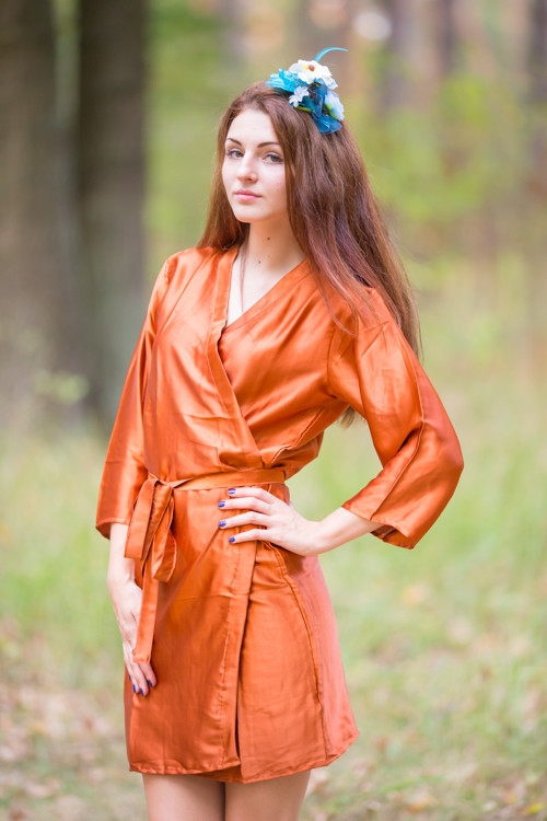 Plain Silk Robes for bridesmaids - Solid Rust Color | Getting Ready Bridal Robes