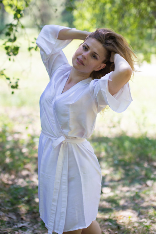 Plain Silk Robes for bridesmaids - Solid White Color   Getting Ready Bridal Robes