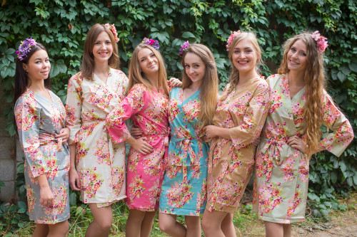 Mismatched Floral Posy2 Robes in bright tones