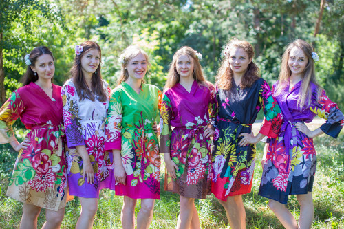 Mismatched Jungle of Flowers Robes in bright tones