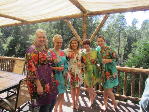 Mismatched Large Floral Blossom5 Robes in bright tones