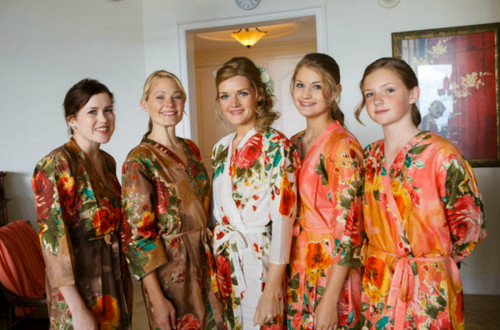 Mismatched Large Floral Blossom6 Robes in bright tones