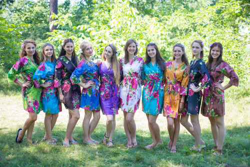 Mismatched Large Fuchsia Floral Blossom Robes in bright tones