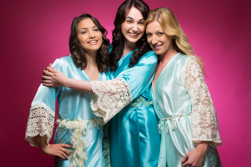 Mint, Teal and Light Blue Luxurious Silk Lace Robes