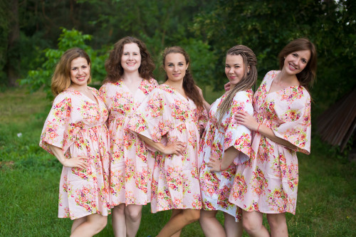 Floral Posy Button-Front Kaftan Dress for bridesmaids to get ready in