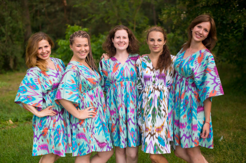Ikat Aztec Button-Front Kaftan Dress for bridesmaids to get ready in