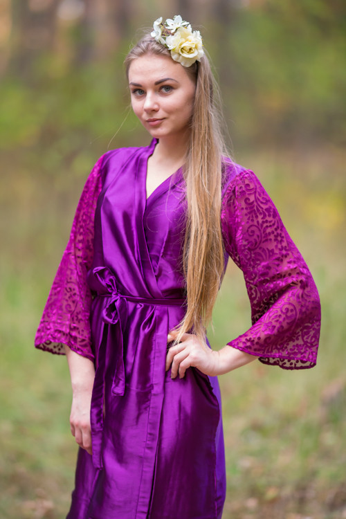 Aubergine Luxurious Silk Robe with Silk Chiffon Devore Sleeves