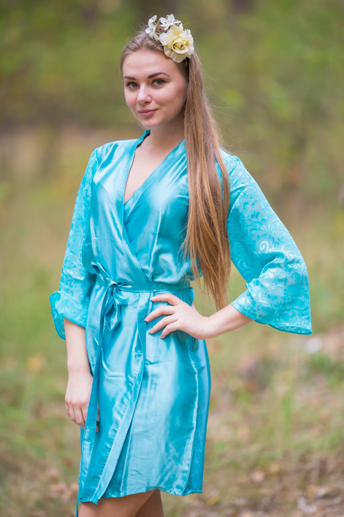 Blue Luxurious Silk Robe with Silk Chiffon Devore Sleeves