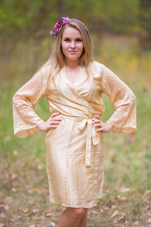 Champagne Luxurious Silk Robe with Silk Chiffon Devore Sleeves