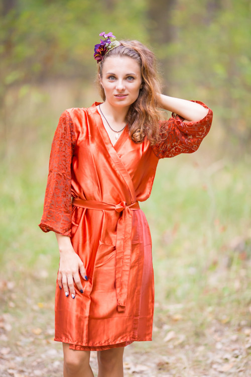Rust Luxurious Silk Robe with Silk Chiffon Devore Sleeves