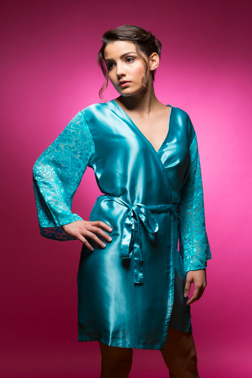 Turquoise Luxurious Silk Robe with Silk Chiffon Devore Sleeves